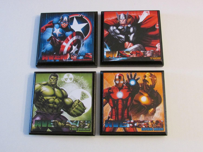 Avengers room wall plaques set of 4 avengers boys room decor - Avengers bedroom ...