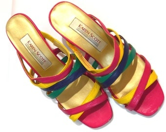 Vintage 80s Colorful Sandals . Pink Teal Yellow Purple Strap Heels . Karen Scott . Size