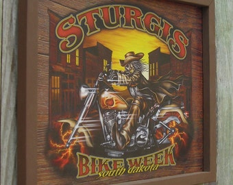 Wood Framed Reproduction Tin Sign, STURGIS, Bike Week South Dakota, Motorcycle, 17 1/4 by 13 1/2 inches., Free Shipping