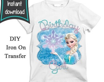 Birthday Girl Iron On Transfer, Frozen Iron on Transfer, Instant Download