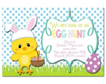 easter  Invitations - printable - DIY - digital file (Easter13)