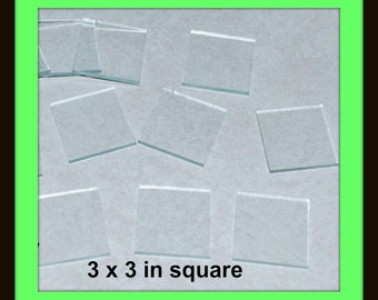 """10 pack Jumbo 3 x 3"""" Clear Glass Squares, Flat on Back and Front, Ornament Glass"""