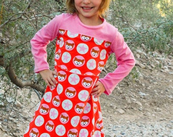 Knit Tee and Dress Sewing Pattern: The Game Day Jersey sizes 2  to 10 (PDF Download)