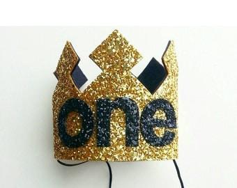 First Birthday | Birthday Crown | Baby Birthday Crown | Gold and Black | Boys Birthday Crown | Baby Crown | First Birthday | Photo Prop