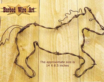 Galloping Horse - Handmade rustic rodeo country western barbed wire art sculpture
