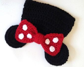 Preemie Minnie Mouse Hat, Newborn Minnie Mouse Hat, Handmade Crochet Minnie Mouse, Disney Photo Prop, MInnie Mouse Photo Prop, Disney Baby