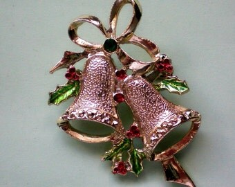 Signed MEESCO Holiday Bells Pin - 3663