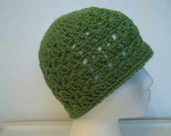 Crochet Hat Cap Beanie -LUSH Green