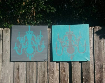 Chandelier Silhouette Pair of Canvas Paintings