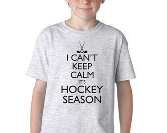 I Can't Keep Calm It's Hockey Season Funny T-Shirt for Kids