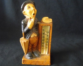 Umbrella Man Thermometer Figurine