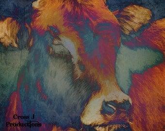 Turquoise Cow Print