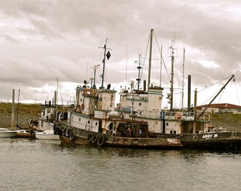 Alaska, Homer, old, ships, cloudy, antique, rust, fishing
