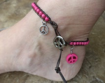 Peace Sign Anklet Ankle Bracelet Hot Pink Howlite Handmade Jewelry Artisan Jewelry  Bohemian Boho Chic Free US Shipping