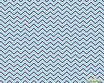 Navy aqua and white mini chevron craft  vinyl sheet - HTV or Adhesive Vinyl -  zig zag pattern HTV1507
