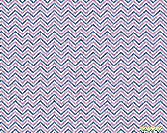 Blue, orchid and white mini chevron craft  vinyl sheet - HTV or Adhesive Vinyl -  zig zag pattern HTV1509