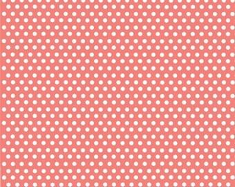 Coral with white mini polka dots craft  vinyl sheet - HTV or Adhesive Vinyl -  polka dot pattern HTV2324