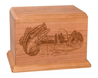 Cherry Boat Fishing Wood Cremation Urn