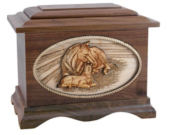 Walnut Horse Ambassador Wood Cremation Urn