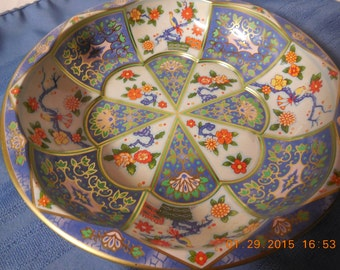 Metal bowl with bright colors.
