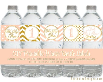 Printable Water Bottle Labels - Drink Wraps Girl 1st First Birthday Gold Peach Chevron Stripes - The Big One - INSTANT DOWNLOAD