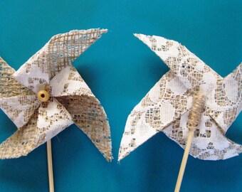 Table Decor Burlap, Pinwheel 10,Rustic Wedding, party