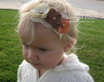 Brown headband, tan headband, Fall headband, Thanksgiving headband, beige headband, brown and orange, baby's first thanksgiving, fall colors