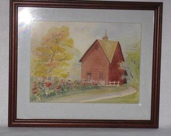 Original framed watercolor painting house barn landscape flowers signed