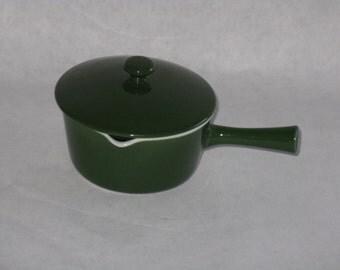 Vintage Lyngby porcelain small sauce pot serving green ceramic Denmark