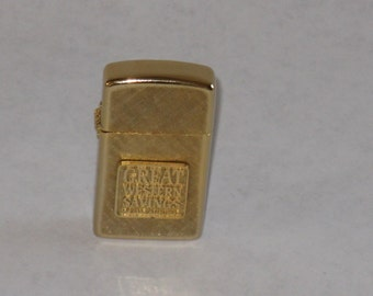 Vintage 14k gold plated Impact lighter Great Western Savings Bank