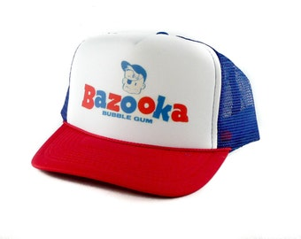Bazooka Bubble Gum hat Trucker Hat Mesh Hat  Snap Back Hat rwb