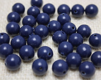 Vintage 10mm Navy Acrylic Lucite Beads (30 pieces)