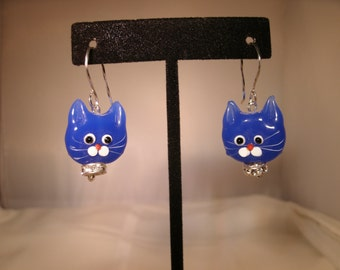 White or Blue Lampworked Glass Kitty Face Earrings