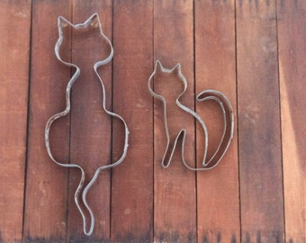 Cat Sculpture From Recycled Wine Barrel Metal Hoop
