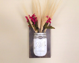Painted Mason Jar Wall Sconce Vase