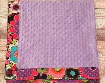 Purple & Pink Floral Minky Blanket
