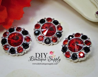 Red and Black Rhinestone Buttons 21 mm Red Black Crystal Buttons Acrylic Buttons Scrapbooking Embellishments Flower Centers 21mm 839035