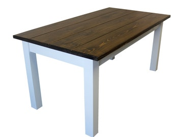 Colonial Harvest Table / Farmhouse Table (Walnut / White)