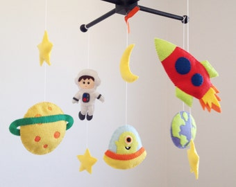Baby Mobile, Crib Baby Mobile, Nursery Decor, Galaxy Baby Mobile, Felt mobile