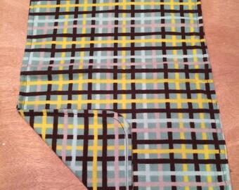 Burp Cloth (brown, yellow, gray, & green plaid flannel)