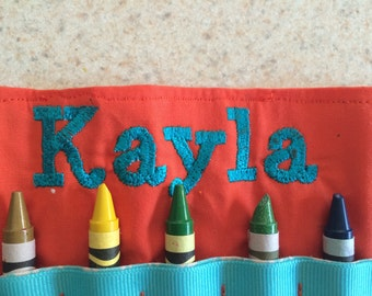 Personalized crayon roll  Holds 14 crayons  snap, tie or velcro closure