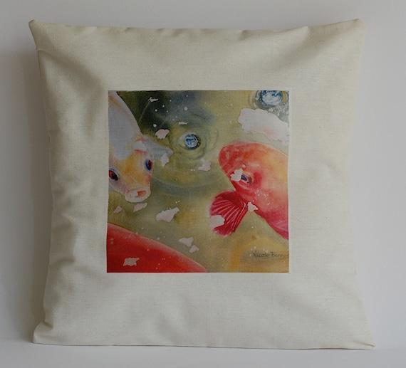 Koi fish cushion cover home decor nursery decor watercolor for Koi fish home decor