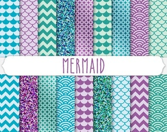 Digital Paper: mermaid digital paper, purple and aqua mermaid glitter, scallop, fish scale, teal mermaid clipart, blue mermaid party design