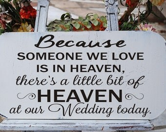 Because someone we love is in HEAVEN...  **Reusable STENCIL**- 4 sizes- Create your own Memorial Wedding Signs