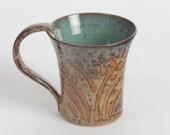 Stoneware mug, pottery coffee cup, ceramic mug, tea cup, pottery mug, with harvest gold browns and jade green glazes.