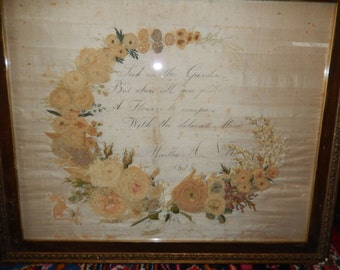 Antique Hand Made Embroidered Picture