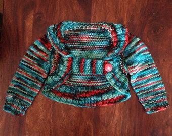 Hand knit wool sweater, 0-6 months