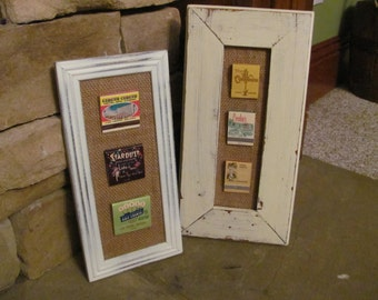 Vintage Matchbooks on Recycled Burlap Wall Decor