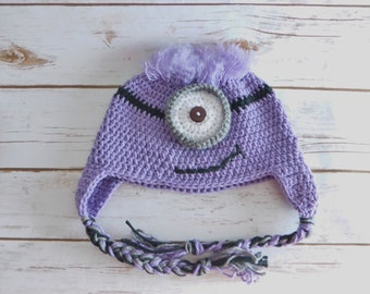 Crochet  Halloween Hat-Crochet Monster Hat-Crochet Big Eye Hat-Holiday Hat-Crochet Fun Hat-Crochet Earflap Hat. Available in different sizes
