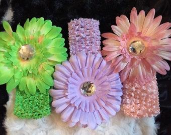 Big Flower headband with Crystal center